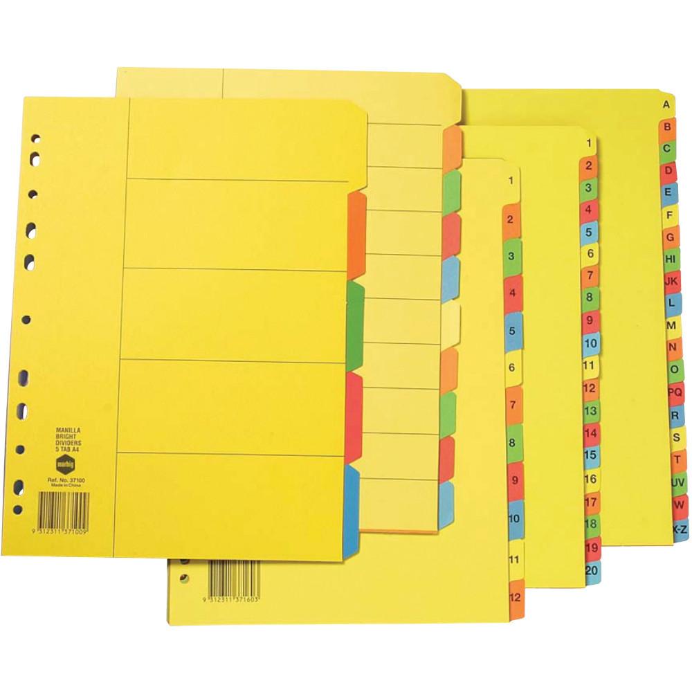 MARBIG BRIGHT MANILLA DIVIDERS A4 A-Z  Multi-Coloured