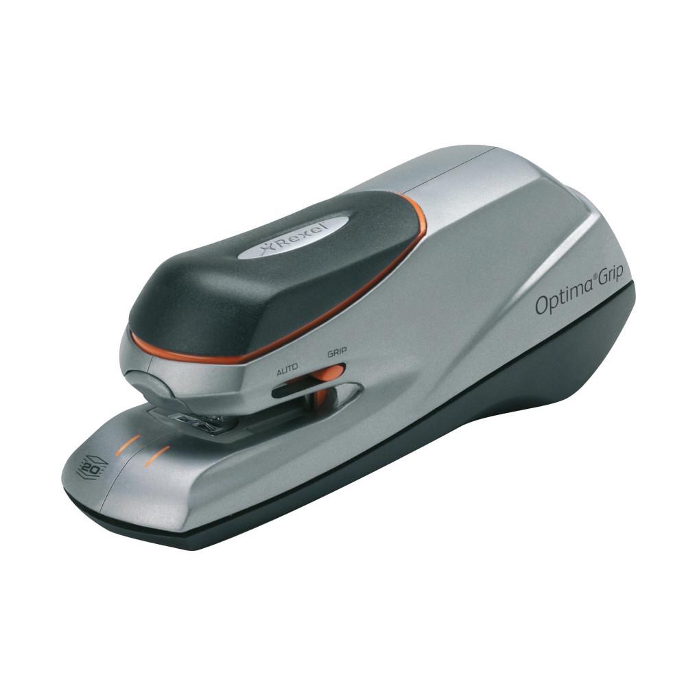 REXEL OPTIMA GRIP STAPLER Elect 20Sht Cap Orange/Silver