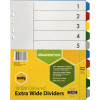 MARBIG BRIGHT MANILLA DIVIDERS A4 10  Reinf Tab PP Xwide Asst