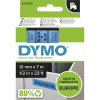 DYMO D1 LABEL CASSETTE 12mmx7m -Black on Blue