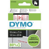 DYMO D1 LABEL CASSETTE 12mmx7m -Red on White