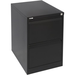 GO 2 DRAWER FILING CABINET H705 x W460 x D620mm Black Ripple Furnx