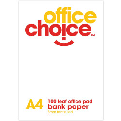 OFFICE CHOICE OFFICE PAD A4 100lf Bank Ruled 60gsm 120555