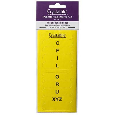 CRYSTALFILE TAB INSERTS A-Z Yellow