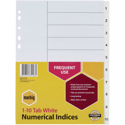 MARBIG NUMERICAL INDICES A4 PP 1-10 White