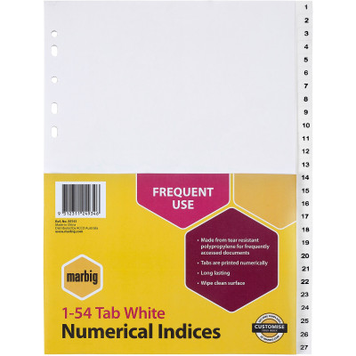 MARBIG NUMERICAL INDICES A4 PP 1-54 White